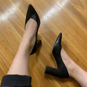 Black Pointed Toe Heeled Pumps